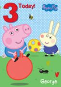 Age 3 Peppa Pig George Pig Birthday Card